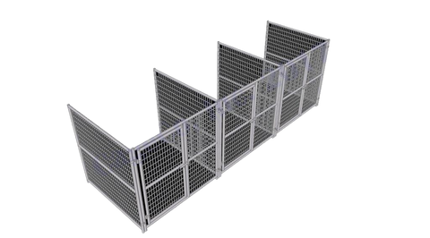 Rhino Dog Kennel Indoor/Outdoor 3-Run 6'W x 6'L x 6'H
