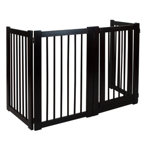 Free Standing Pet Gate with Door-Espresso