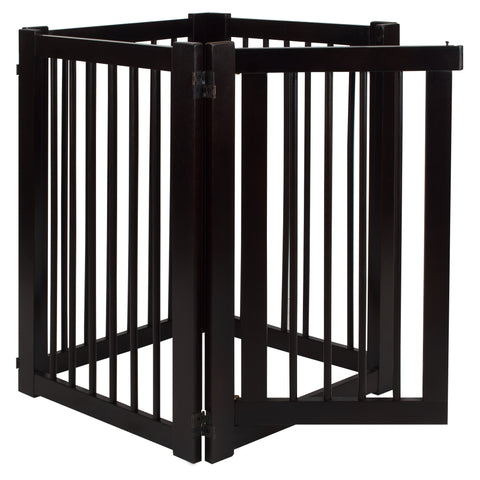 Free Standing Pet Gate with Door-Espresso - www.peterspetsupplies.com