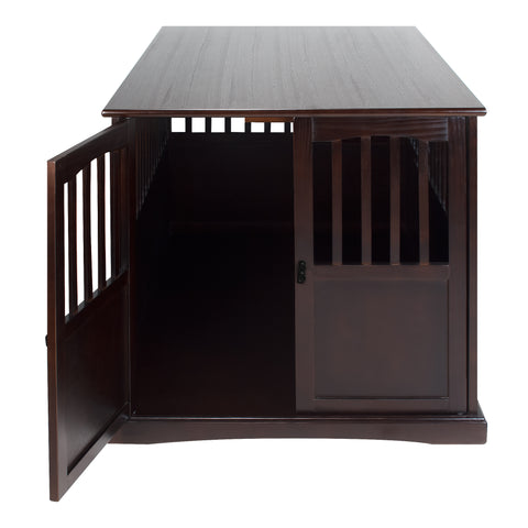 Image of Wooden Extra Large Pet Crate Espresso End Table By Yushan