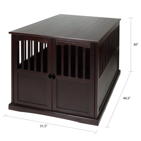 Image of Wooden Extra Large Pet Crate Espresso End Table By Yushan - www.peterspetsupplies.com