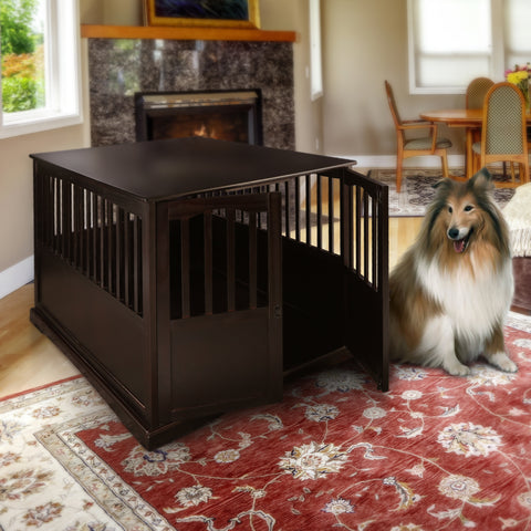 Wooden Extra Large Pet Crate Espresso End Table By Yushan