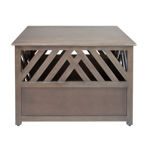 Image of Modern Lattice Wooden Pet Crate End Table by Yushan - www.peterspetsupplies.com