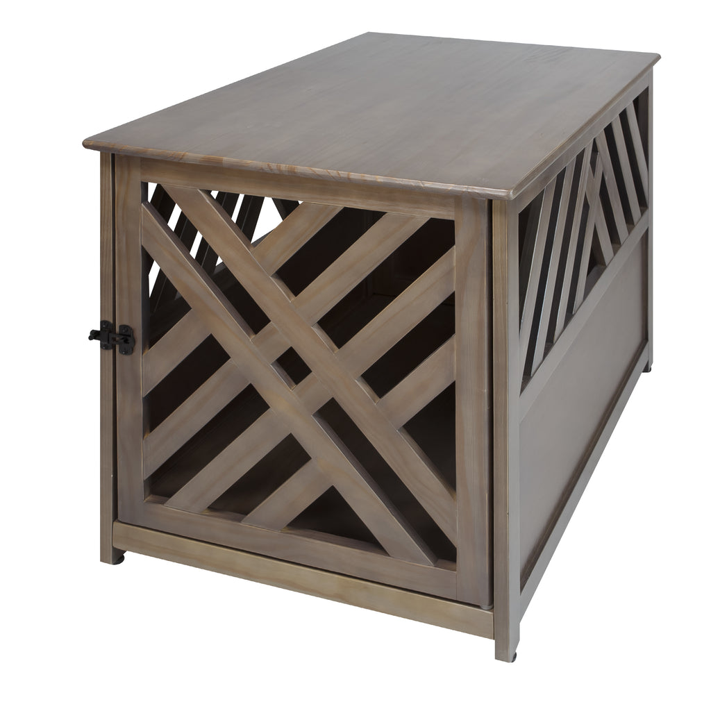 Modern Lattice Wooden Pet Crate End Table by Yushan - www.peterspetsupplies.com