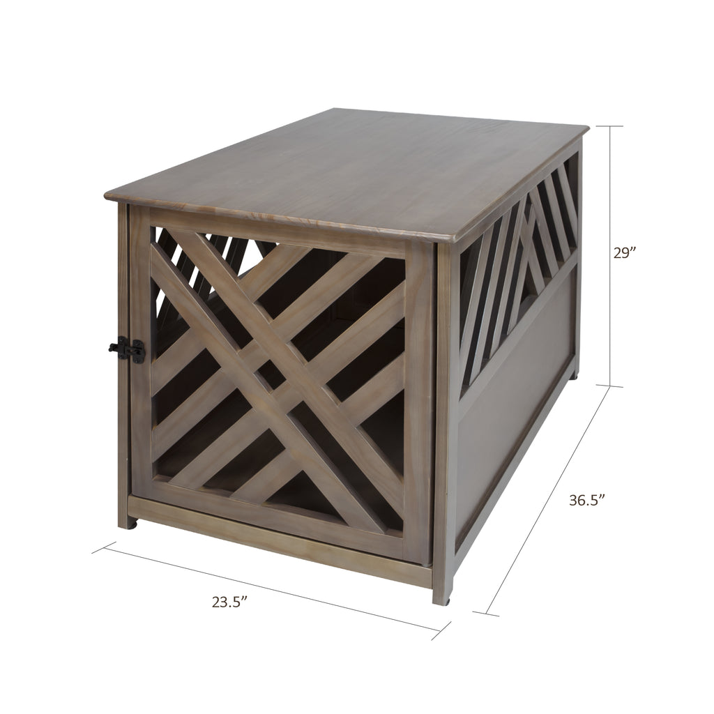 Modern Lattice Wooden Pet Crate End Table by Yushan