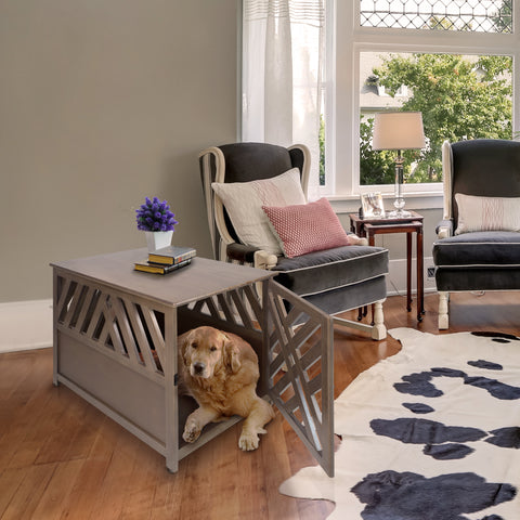 Image of Modern Lattice Wooden Pet Crate End Table by Yushan