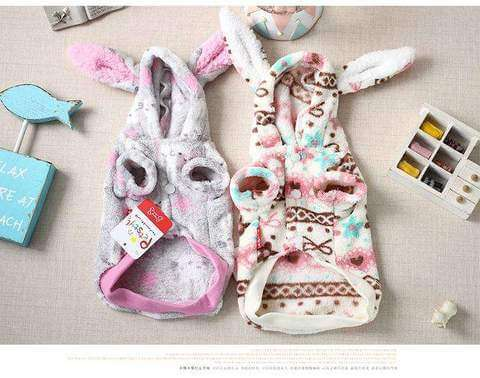 www.peterspetsupplies.com:Cute Big ear Halloween Dog puppy rabbit costume clothing winter warm fleece small dog pet cat Coat jacket chihuahua dog clothes