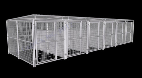 Image of Rhino Dog Kennel w/Roof Shelters & Fight Guard Divider 6-Run 5'x10'