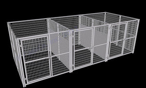 Rhino Dog Kennel w/Fight Guard Dividers 3-Run 6'x8'