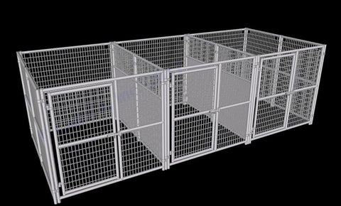 Image of Rhino Dog Kennel w/Fight Guard Dividers 3-Run 6'x8'