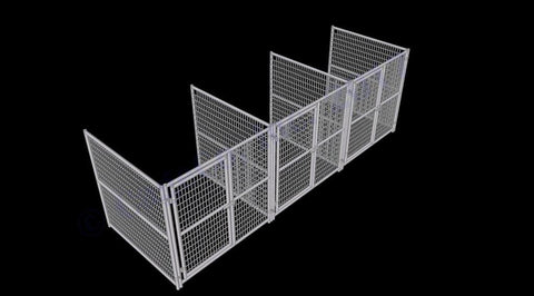 Image of Rhino Dog Kennel Indoor/Outdoor 3-Run 6'W x 6'L x 6'H