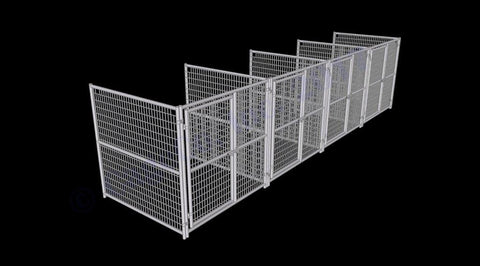 Image of Rhino Dog Kennel  Indoor/Outdoor with 4-Run 6'W x 6'L x 6'H