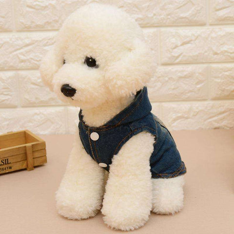 Image of Denim Vest with Hoodie Autumn Fashion for Dogs - www.peterspetsupplies.com