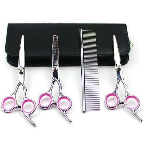 Image of www.peterspetsupplies.com:Dog Grooming Scissors Kits Curved Scissor Set Perfect for Pet Grooming Curved Tesoura Puppy Cat Hair Thinning Shears + Comb 40