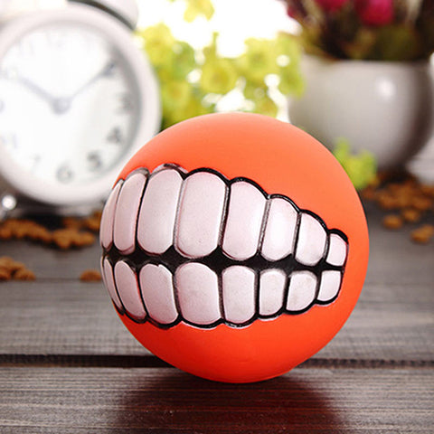 Image of PVC Chew Ball Toy With Teeth For Dogs