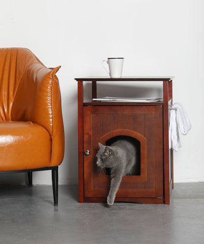 Image of Cat Washroom Litter Box Cover / Night Stand Pet House - www.peterspetsupplies.com