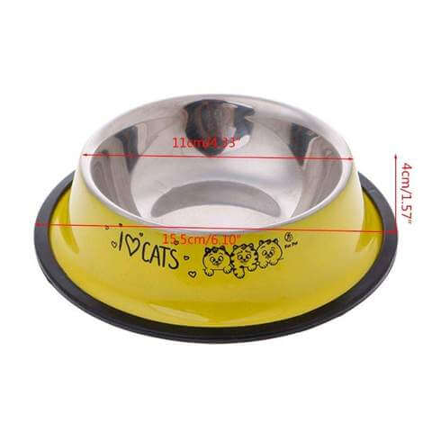Image of Multi-Color Anti-Skid Stainless Steel Food Bowl / Water Container for Cats & Dogs - www.peterspetsupplies.com