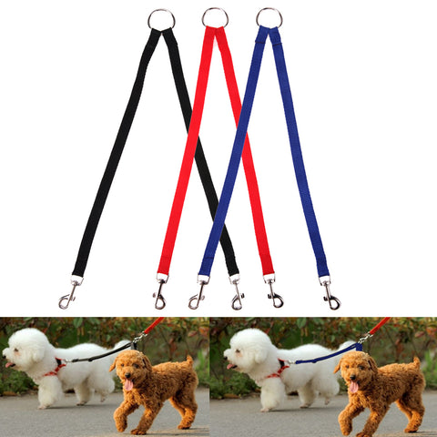 Nylon Double Dual Pets Dogs Leash 2 Way Coupler For Dogs - www.peterspetsupplies.com