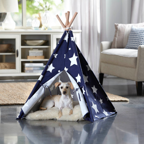 Image of Pet Teepee, Blue with White Stars, Large - www.peterspetsupplies.com