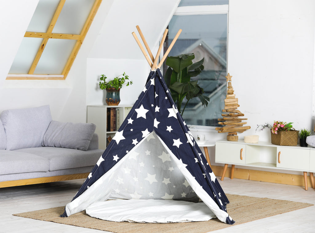 Pet Teepee, Blue with White Stars, Large - www.peterspetsupplies.com