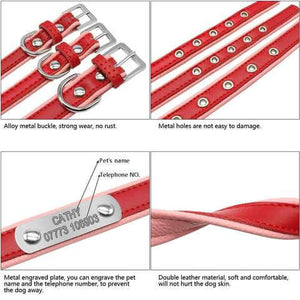 Personalized Leather Dog ID Collars Adjustable Padded