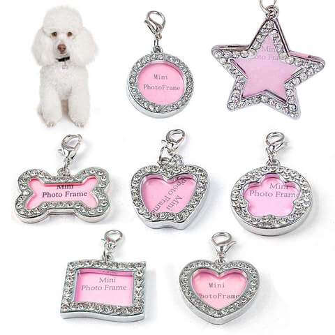 Image of Personalized Pet Id Tag Luxury Crystal Decorated for Cats  & Dogs - www.peterspetsupplies.com