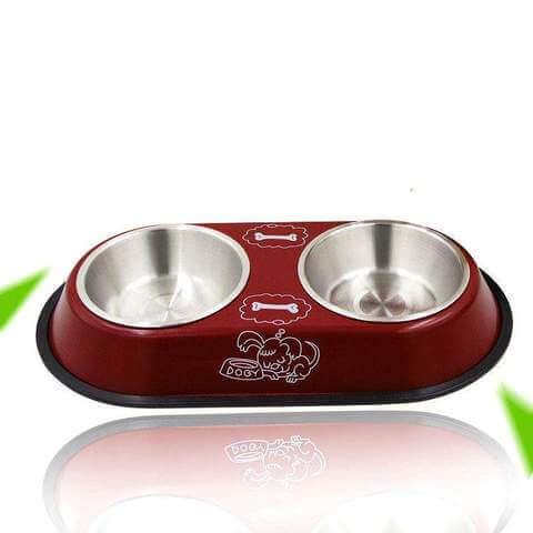Pet Double Bowl Food Water Dish Stainless Steel Non Slip For Cats & Dogs - www.peterspetsupplies.com
