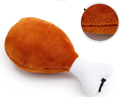 Image of Chicken Leg Plush Dog Squeak Toys For Small Dogs - www.peterspetsupplies.com