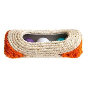 Pet Cat Kitten Toy Rolling Sisal Scratching With Bell Post & 3 Trapped Balls