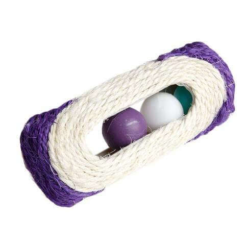 Pet Cat Kitten Toy Rolling Sisal Scratching With Bell Post & 3 Trapped Balls - www.peterspetsupplies.com