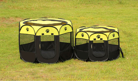 Image of Portable Folding Dog House Pet tent Cage Dog Octagonal