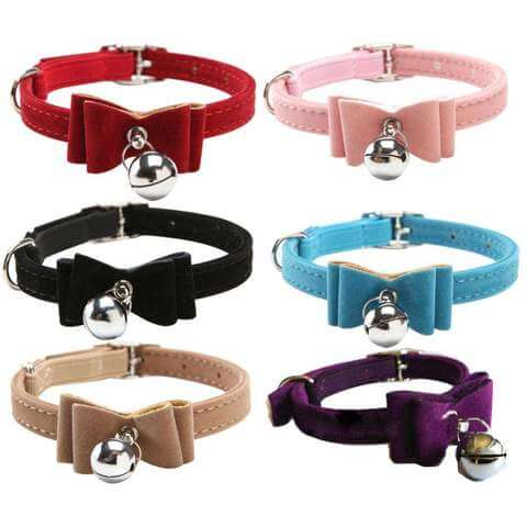 Image of Safety Elastic Pet Cat Collar Velvet Bow Tie Kitten