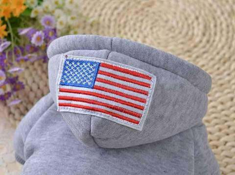 Image of USA Flag Hooded Dog Coat Gray Red Black 3 styles