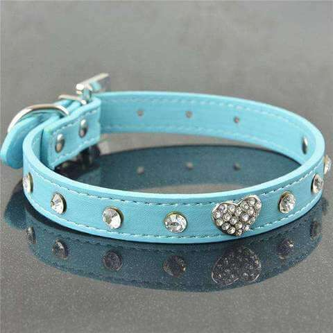 Image of www.peterspetsupplies.com:Bling Rhinestone Crystal Leather Pet Dog Cat Collars Adjustable Collar with Pendant