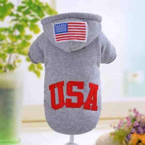USA Flag Hooded Dog Coat Gray Red Black 3 styles