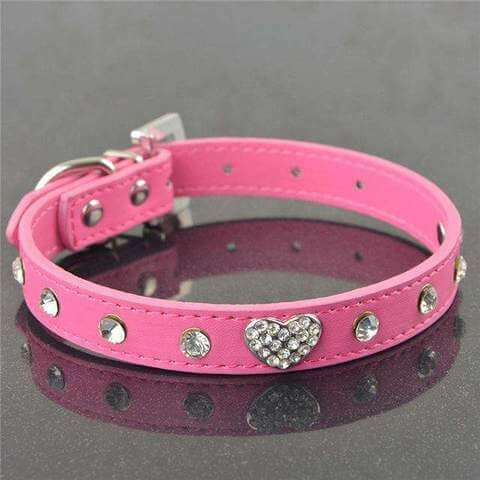 www.peterspetsupplies.com:Bling Rhinestone Crystal Leather Pet Dog Cat Collars Adjustable Collar with Pendant
