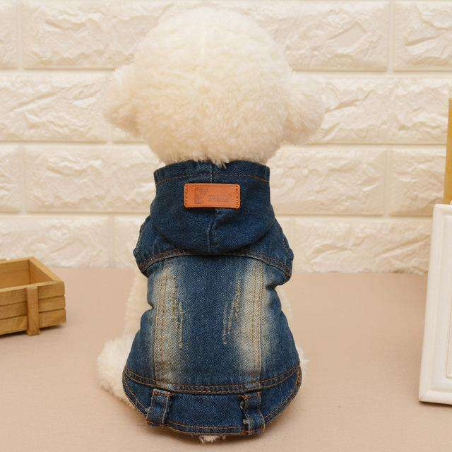 Denim Vest with Hoodie Autumn Fashion for Dogs - www.peterspetsupplies.com
