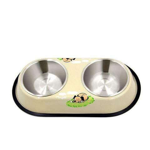 Image of Pet Double Bowl Food Water Dish Stainless Steel Non Slip For Cats & Dogs - www.peterspetsupplies.com