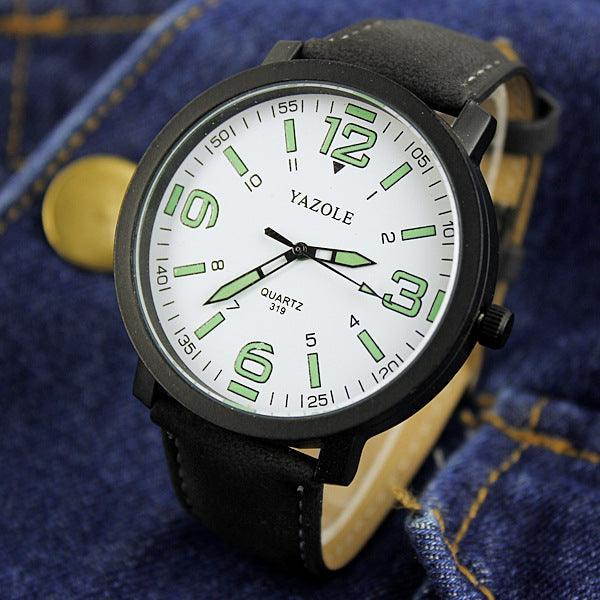 Fashion Luminous Men's Watch Vízálló bőrszíj kvarcóra