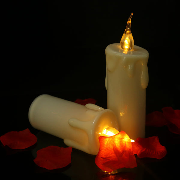6 Pcs Led Electric Battery Powered Tealight Candles Tears Slope Emitting Snug Yellow