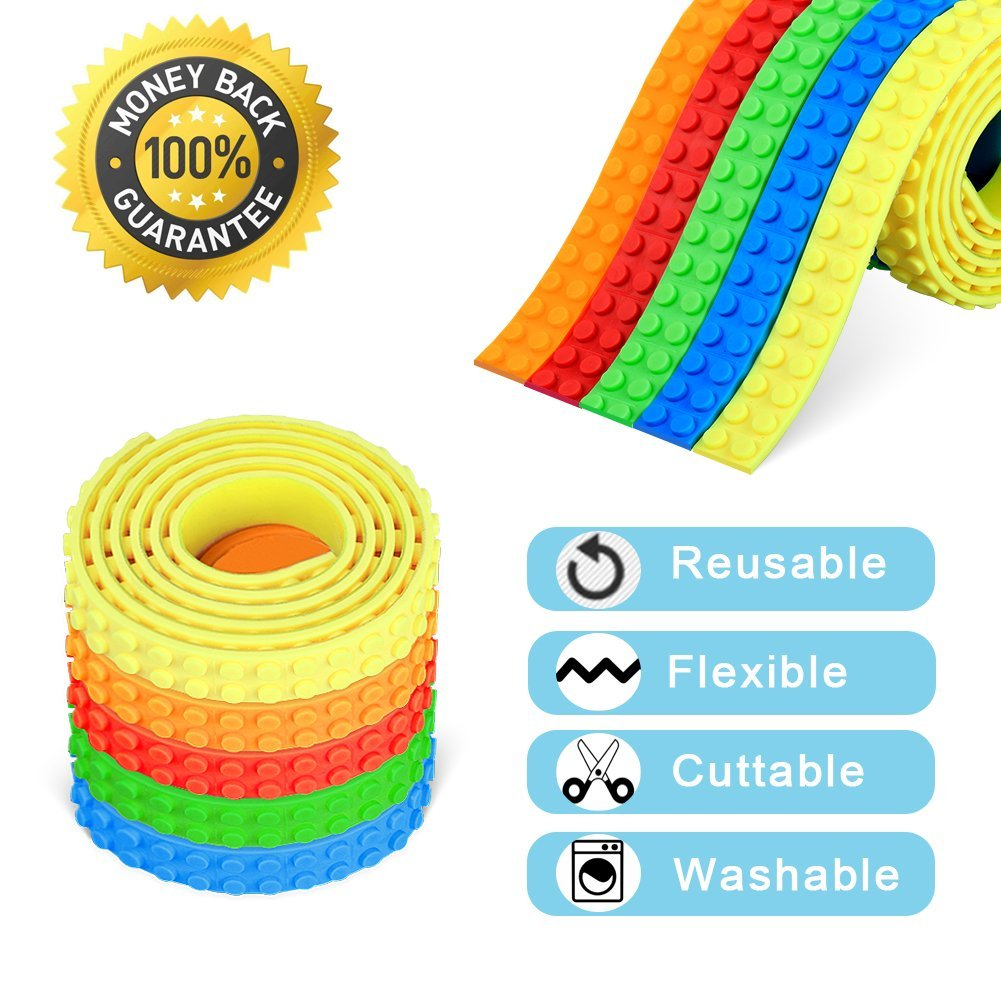 Block Tape for Lego Bricks ,Rolytoy Self-Adhesive Reusable Silicone Strips for Kids, Loops Building Block Tape Roll Toy Gift (5 Color)