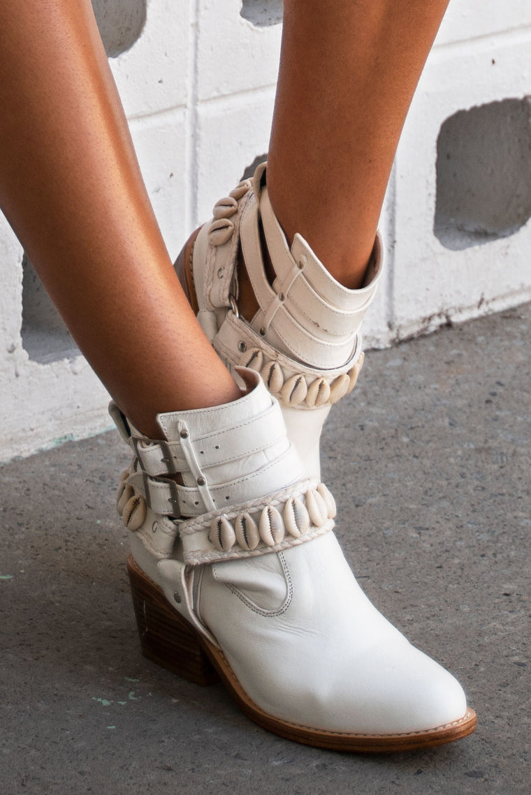 White Cowrie Boots