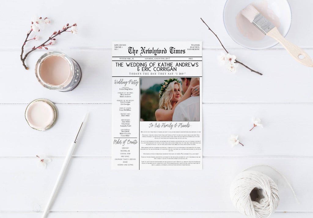 DIY Newspaper Wedding Program DIY Program Wedding Program Wedding - Wedding newspaper program template