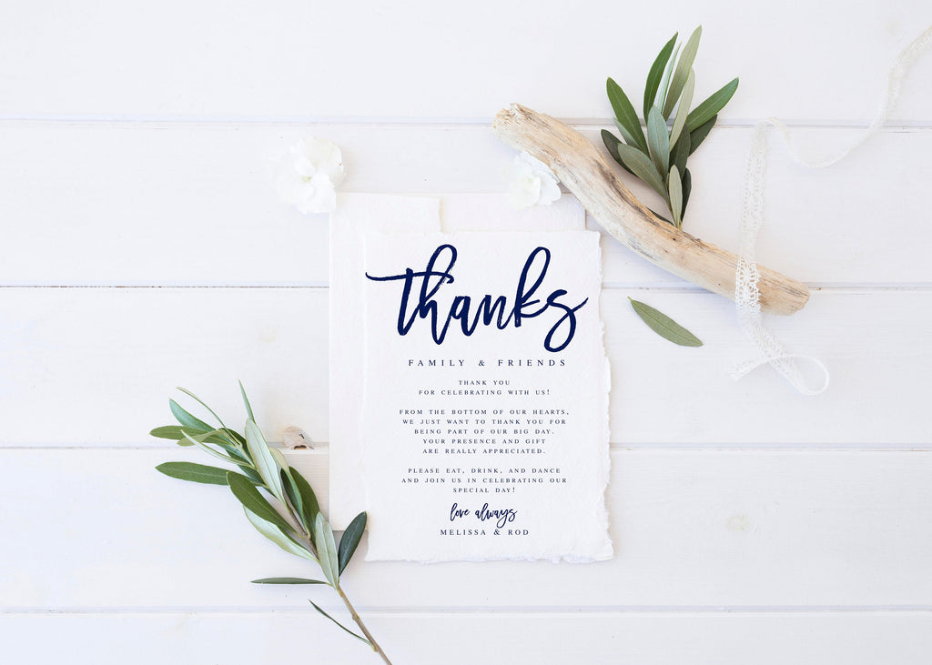 Navy Modern Wedding Thank You Letter Template Wedding Thank You
