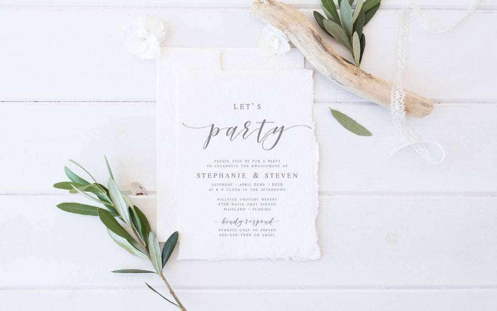 GREY Lets Party Modern Engagement Invitation Template Announcement Calligraphy