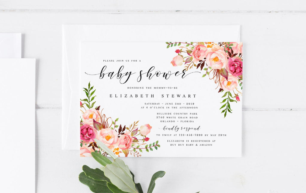 Pink bohemian floral spring baby shower invitation template diy baby pink bohemian floral spring baby shower invitation template diy baby shower template pink baby shower invitation filmwisefo