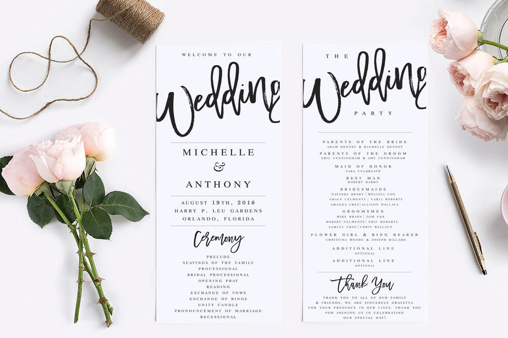 Wedding Program Template Modern Wedding Program Template Rustic ...