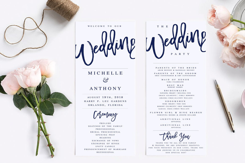 navy wedding program template modern wedding program template rustic