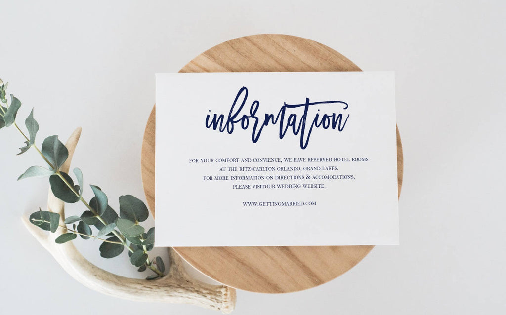 navy wedding information card template wedding details card template