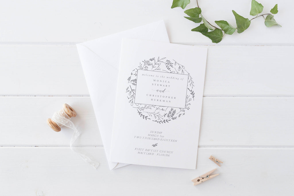foldable wedding program template modern wedding program template